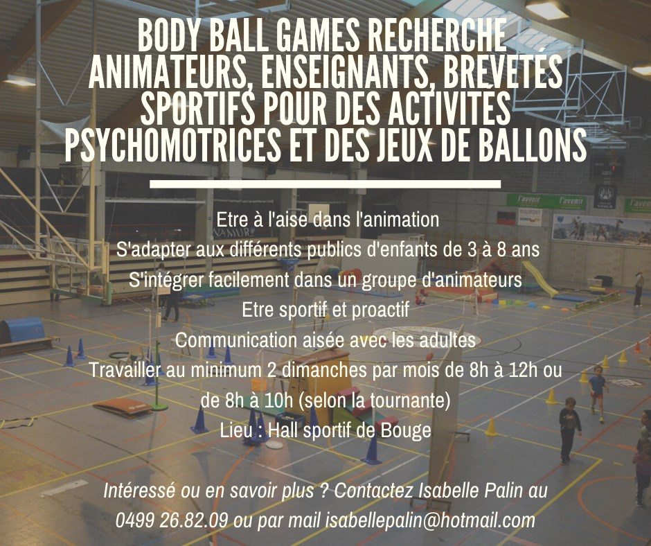 Communication Body Ball Games 5 septembre recrutement